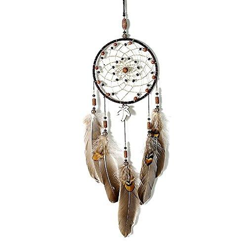 IMMIGOO Traumfänger Handgefertigt Traditionelles Dreamcatcher Indischen Gute Träume Wand Zimmer Auto Deko Ornament Geschenk Braun