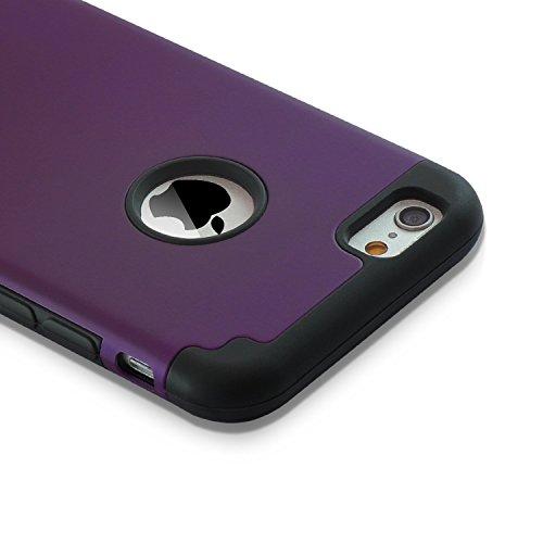 iPhone 6/6s Cases, Case Cover duplice ibrido per iPhone 6/6s. Cover duro per iPhone 6 stampato Design Pc+ Silicone ibrido impatto grande Difensore custodia Combo duro morbido Cases Covers(porpora+nero)