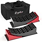 Rophor Camper Levelers, RV Leveling Blocks Ramps Kit for Travel Trailer, Include Two Curved Levelers, Two Chocks, Two Anti-Slip Mats and Carrying Bag, Up to 35,000 lbs