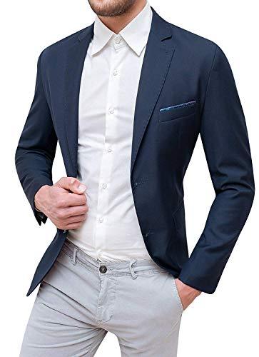 Giacca Uomo Sartoriale Elegante con Pochette da Taschino (L, Blu Scuro)