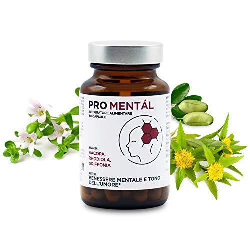 PRO mentàl integratore naturale di BACOPA, RHODIOLA e GRIFFONIA , supporta la MEMORIA,CONCENTRAZIONE,UMORE e aiuta la riduzione della stanchezza e dello stress. 40 compresse vegane ad alto dosaggio