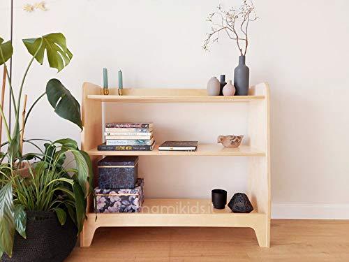 Mami | Estantería Montessoriano de madera para niños | dormitorio infantil | Porta objetos juguetes de peluche | Estantería para niños | 3 estantes