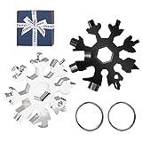 Yolistar 2Pack Snowflake Multi Tool,Multi herramienta copo de nieve Tarjeta de la herramienta del copo de nieve Destornillador multi-herramienta de acero Llavero Abrebotellas,Llave de anillo