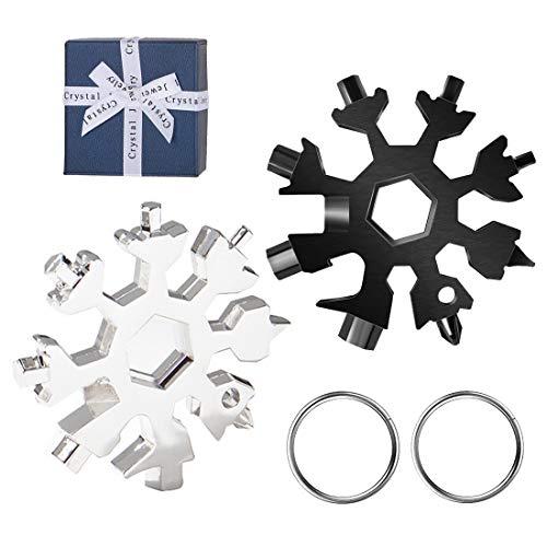 Yolistar 2Pack 18-in-1 Multi-Tool Snowflake Multi attrezzo in acciaio portatile, 2020 Gadget Idee Regalo Uomo,Cacciavite Bottle Opener Keychain Chiave per Viaggi in campeggio, Regali Natale