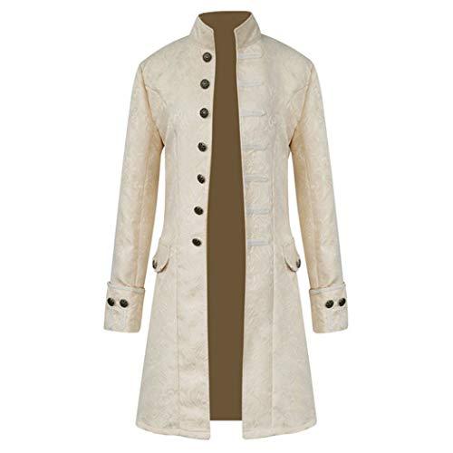 Anywow Herren Steampunk viktorianischen Mantel mittelalterlichen Jacke Viking Renaissance formalen Frack Gothic Tuxedo Stehkragen Mantel Halloween Kostüm (XXL, Weiß)