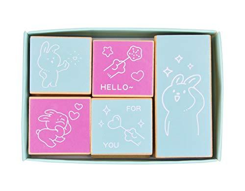 MissOrange『木製ゴム印セット』うさぎ くま 可愛いスタンプ クリエイティブスタンプセット クラフトカード スクラップブッキング 手帳用 5個セットM-91 (01-Bunny)