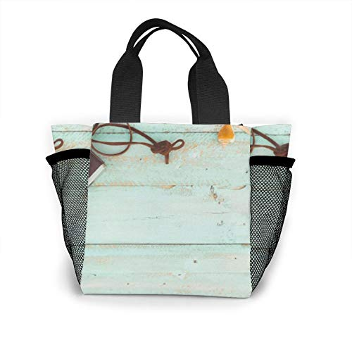 Lunch Box Beach Camera Starfish Shells Coral Wood Bag Organizer For Women Men Teens, Office School Work Lunch Portable Insulated Lunch Bag