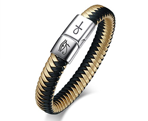 VNOX Mens Gift Tri-Color Braided Leather Egyptian Eye of Horus Magnetic Clasp Cuff Band Bracelet for Men