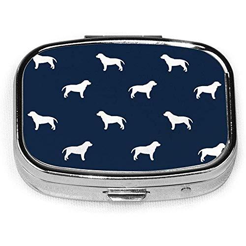 Labrador Retriever Huisdier Quilt B Silhouette Hond Ras Quilt Coördinaten CustomSquare Pill Box Decoratieve Doos Vitamine Container