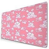Groß Gaming Mauspad-75 x 40cm,Aquarell-Neugeborene mit Hasen-rosa Schnuller auf einem hellen Rosa,Rutschfeste Gummibasis Tastaturmatte mit Genähten Kanten für Laptop Computer Schreibtischunterlage