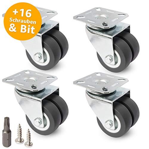 PRIOstahl Doppelrollen Set - Transportrollen, Möbelrollen, Strandkorbrollen - bis zu 100 KG pro Rolle - für Möbel, Transport von Objekten - 4 x Lenkrolle (50 mm, grau)