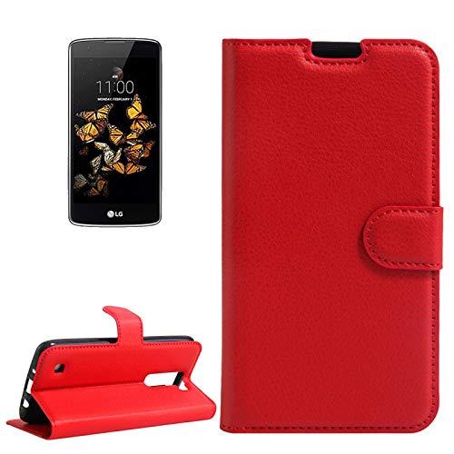 BEIJING  PROTECTIVECOVER + For LG K8 Litchi Textura Vuelta Horizontal Funda de Cuero con Soporte y Ranuras Tarjetas y Billetera De Caja de protección de la Moda (Color : Rojo)
