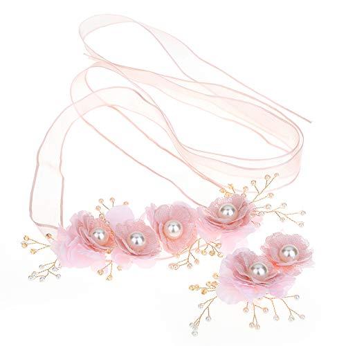 Huwelijk tiara Handgemaakte roze bloem slinger bruidsmeisje haar accessoires haarband armband set