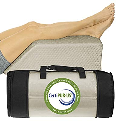 Xtra-Comfort Leg Elevation Pillow - Wedge Elevator Support Cushion for Sleeping, Swelling - Elevated Prop Up Position, Back Pain, Foot Rest, Sciatica - Knee Elevating Incline Memory Foam