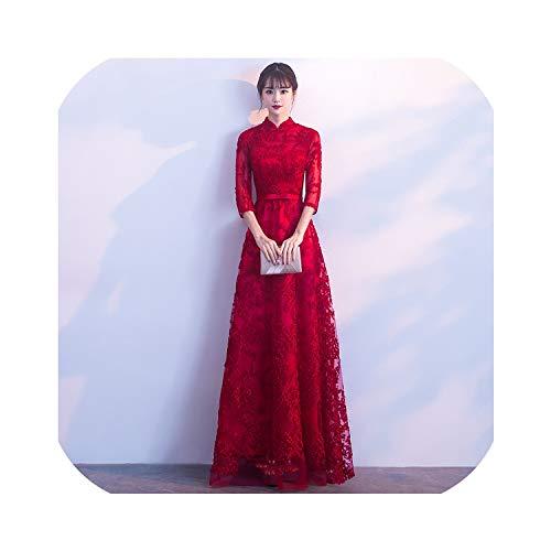 Intouchables Qi Pao traditionelles chinesisches Hochzeitskleid Cheongsam, rotes Brautkleid Gr. Medium, Großer roter Stehkragen