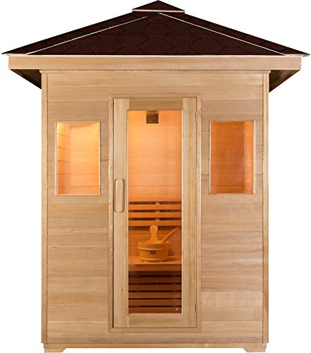 "Canadian Hemlock Wood Traditional Swedish 2 or 3 Person Outdoor Steam Sauna Spa, 77"" Roof, with 6KW Wet or Dry Heater, Rocks, and Water Bucket"
