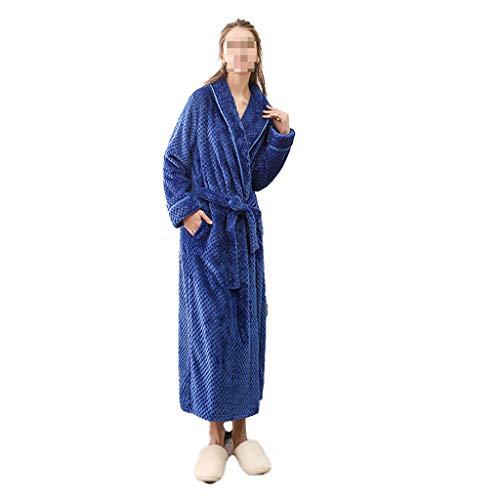 LYMQY Peignoir, Chemise De Nuit en Velours Beibe en Flanelle épaissie en Automne Et en Hiver, Peignoir à Ceinture Fixe Allongée Grande Taille pour Hommes Et Femmes (XL,Blue Girl)