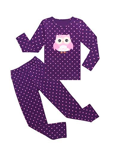 Bricnat Mädchen Schlafanzug Eule Nachtwäsche Baumwolle Kinder Herbst und Winter Pyjama Set Langarm Pyjama Zweiteiliger Schlafanzug 140 Lila
