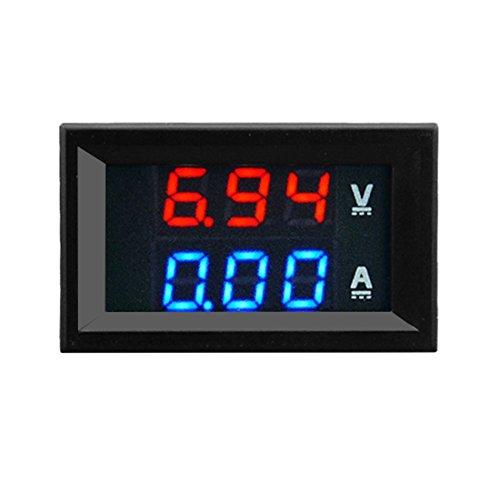 Formulaioue 100V 10A DC Digital Voltímetro Amperímetro Azul + Rojo Pantalla de Doble Color LED Amp Dual Digital Volt Meter Gauge 2 in1 Multimeter-Blue