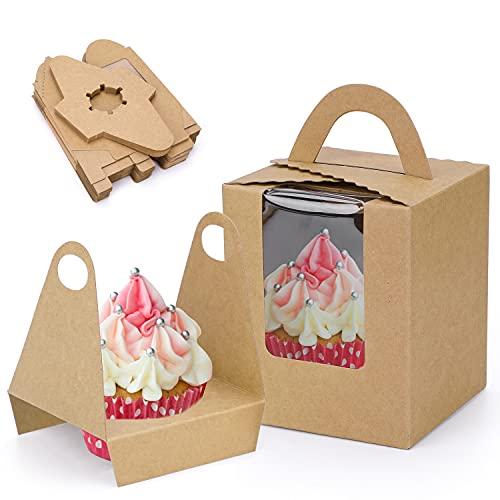 HOWAF 25 Cajas para Regalo, Cajas de Papel Kfraft para Cupcake con Insertar Ventana y manija, Accesorio para Repostería, para cumpleaños Boda Fiesta Comunion Navidad Año Nuevo