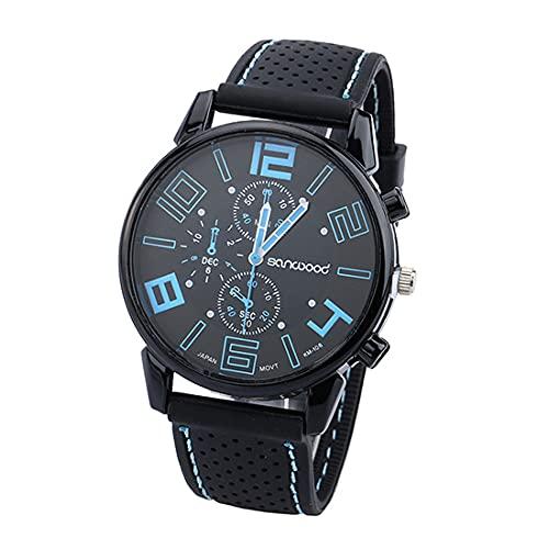 Reloj de pulsera para hombre, digital, de cuarzo, analógico, de silicona, resistente al agua, de acero inoxidable, redondo, para hombre, color azul claro