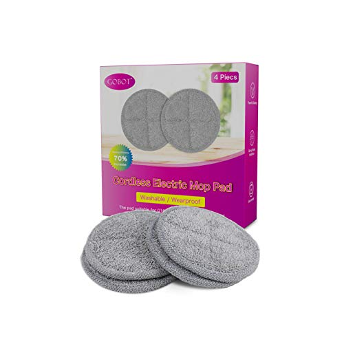 GOBOT Almohadillas eléctricas para mopa (4 piezas grises para modelo G29 G28 G26, apto para reemplazo con diámetro de 6.3 pulgadas de almohadilla de fregona