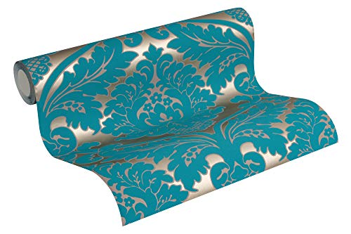 MATEX Tapete barock glamouröse Vliestapete mit Ornamenten Barocktapete in 3D-Optik goldfarben türkis leicht zu verarbeiten