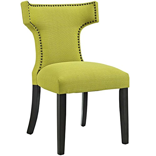 Modway MO- Curve Mid-Century Modern Upholstered Fabric with Nailhead Trim, One Chair, Wheatgrass -  EEI-2221-WHE