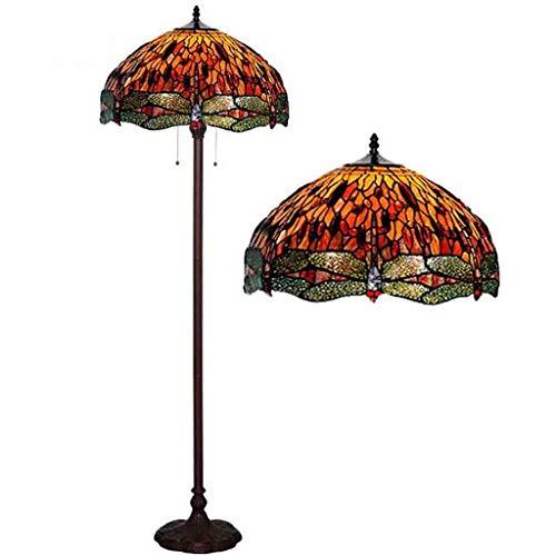 GYCC - Lámpara de pie de Estilo Tiffany de 18 Pulgadas, Pintada con Cristal, Color Rojo, lámpara de pie, 2 Luces, Base Antigua, lámpara de pie para Dormitorio, salón