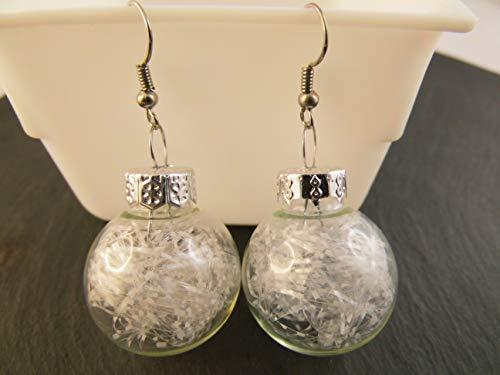 Weihnachtskugel Ohrringe Christbaumkugel transparent weiß Glitzerfäden Glitter Ohrhänger handmade