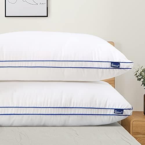Juego de 2 almohadas de 40 x 80 cm, relleno de microfibra hipoalergénica, para la espalda, el vientre o los lados con funda transpirable