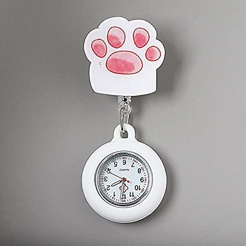 YYMY Reloj de Bosillo para Enfermera Cuarzo,Cofre de Enfermera Lindo luz Nocturna, atención médica telescópica Impermeable-Blanco 19