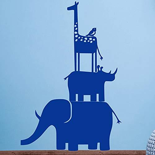 FXBSZ Anpassbare Farbe Giraffe Elefant Wandaufkleber Kinderzimmer Tier Aufkleber Giraffe Nashorn Elefant Wandaufkleber Wandbild Kinderzimmer Marineblau 55cm x 82cm