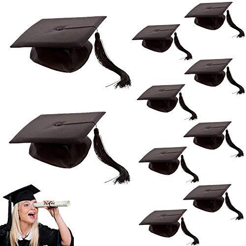 marion10020 Kostümzubehör: 10er-Pack Doktor-Hut Akademiker Absolventen-Hut Doktorhut mit Quaste, Einheitsgröße, für Fasching Karneval