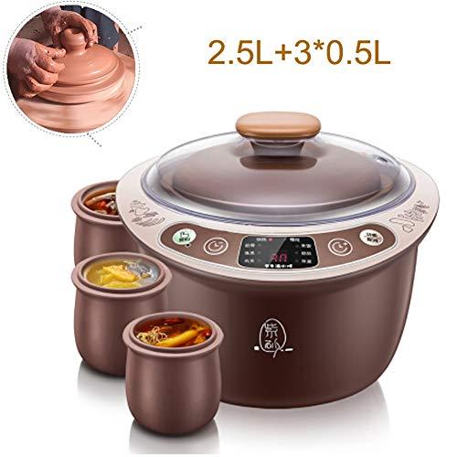 Argilla viola elettrico sano di Slow Cookers 2.5L intelligente Multicooker 9,5 ore Appuntamento Timing Simmer Pot Anti-Dry