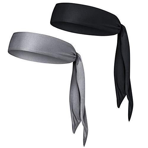 LEZED Sport Stirnband Anti-Rutsch für Frauen und Männer Sport Schweißband für Tennis Laufen Radfahren Yoga Basketball Kopf Krawatte Tennis Headband Stirnband für Moisture Wicking 2 Stück
