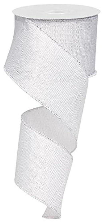 Metallic Royal Canvas Wired Ribbon White Silver (2.5 Inch x 10 Yards) : RG0101366