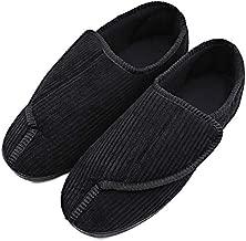Men's Diabetic Slippers Adjustable House Shoes Warm Plush Fleece Comfortable Non-Skid Relief for Wide Swollen Feet, Elderly, Diabetes, Swelling, Edema, Arthritis