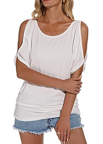 Lantch Damen T-Shirt Top Sommer Basic Schulterfrei Kurzarm Off Shoulder Tee Blumenmuster Oberteile(wh,l)