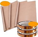 INTVN Cinta adhesiva de alta temperatura, Papel de Horno,resistente al calor, cinta de poliimida autoadhesiva para trabajos eléctricos, impresoras 3D, soldadura, pintura y fijación de embalaje