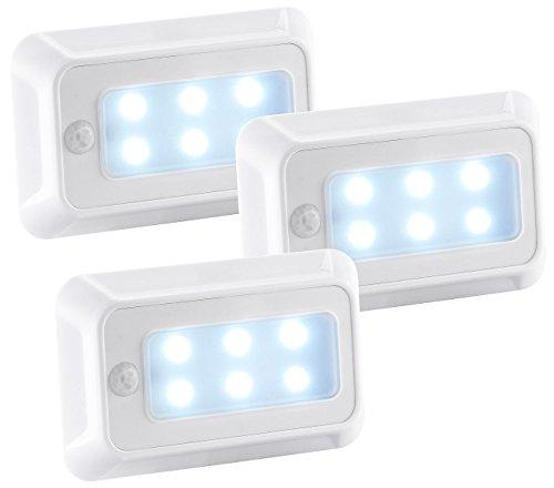 Luminea LED Bewegungslicht: LED-Nachtlicht mit Bewegungs- & Dämmerungs-Sensor, Batterie, 3er-Set (Bewegungslicht innen)