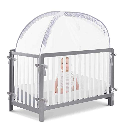 L RUNNZER Baby Safety Crib Tent, Pop up Nursery Mosquito Net to Keep Baby from Climbing Out,Protect Your Baby from Falls and Bite