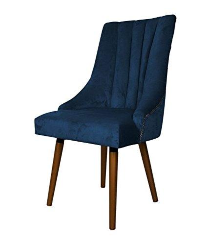 Belle Fierté Un par de sillas de Comedor de Terciopelo con Tachuelas escandinavas contemporáneas – Azul Marino