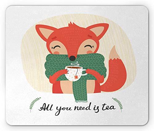 Winter Mouse Pad, Doodle Fox Drinkthee met alles wat je nodig hebt is thee kalligrafie koud klimaat, anti-slip rubber muismat