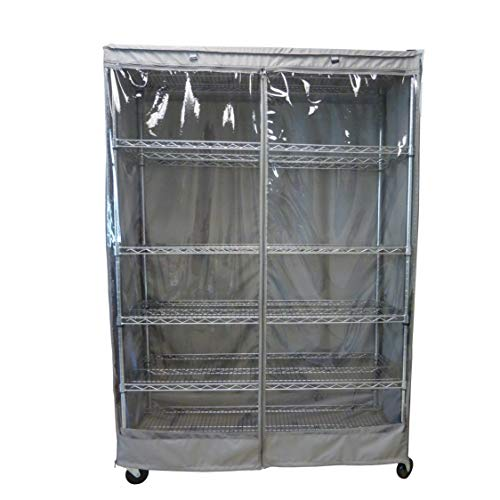 Storage Shelving Unit Cover, fits Racks 60' Wx24 Dx72 H one Side See Through Panel (Cover only)