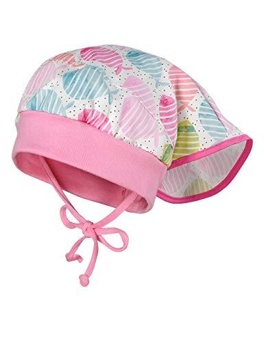 maximo Baby-Mädchen Kopftuchmütze Mütze, Mehrfarbig (Zartrosa-Grün-Fische 35), (Herstellergröße: 47)