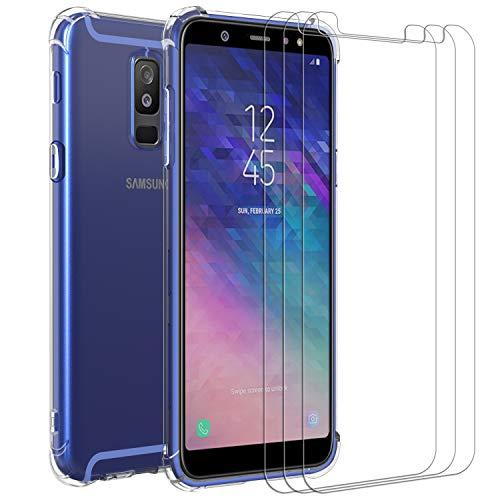 ivoler Hülle für Samsung Galaxy A6+ 2018 / A6 Plus 2018 + [3 Stück] Panzerglas, Durchsichtig Handyhülle Transparent Silikon TPU Schutzhülle Case Cover mit Premium 9H Hartglas Schutzfolie Glas