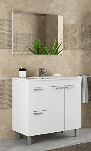 Abitti Mueble Lavabo de baño o Aseo con lavamanos de PMMA y un fantástico Espejo a Juego, Dos Puertas y Dos cajones Color Blanco Brillo 80x80x45cm