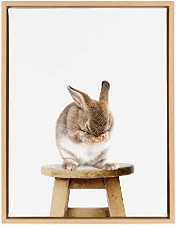 Kate and Laurel Sylvie Shy Bunny Rabbit Animal Print Portrait Framed Canvas Wall Art by Amy product image