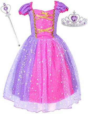 Suyye Princess Dress Costume for Little Girl Baby Shining Birthday Dress Purple with Accessories product image